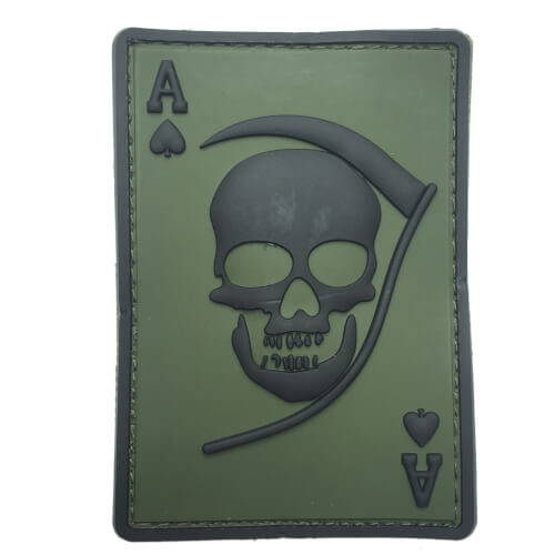 Death Ace PVC Patch oliv/schwarz