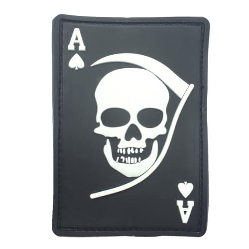 3D Rubber Patch Death Ace schwarz weiß