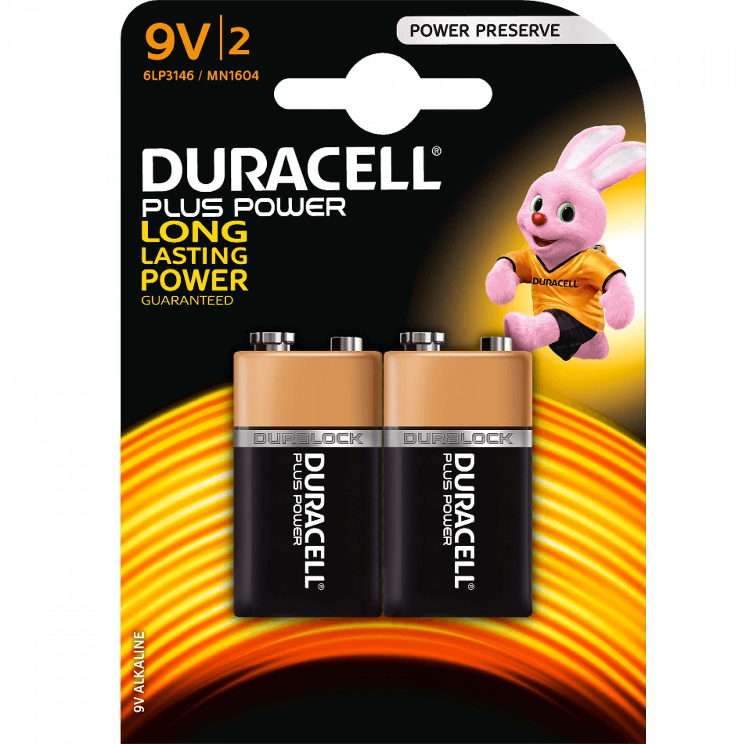 DURACELL Plus Power 9V Block Batterie x2
