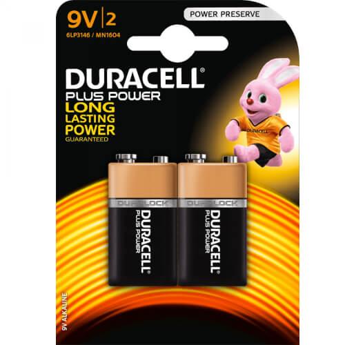 DURACELL Plus Power 9V Block Batterie x2