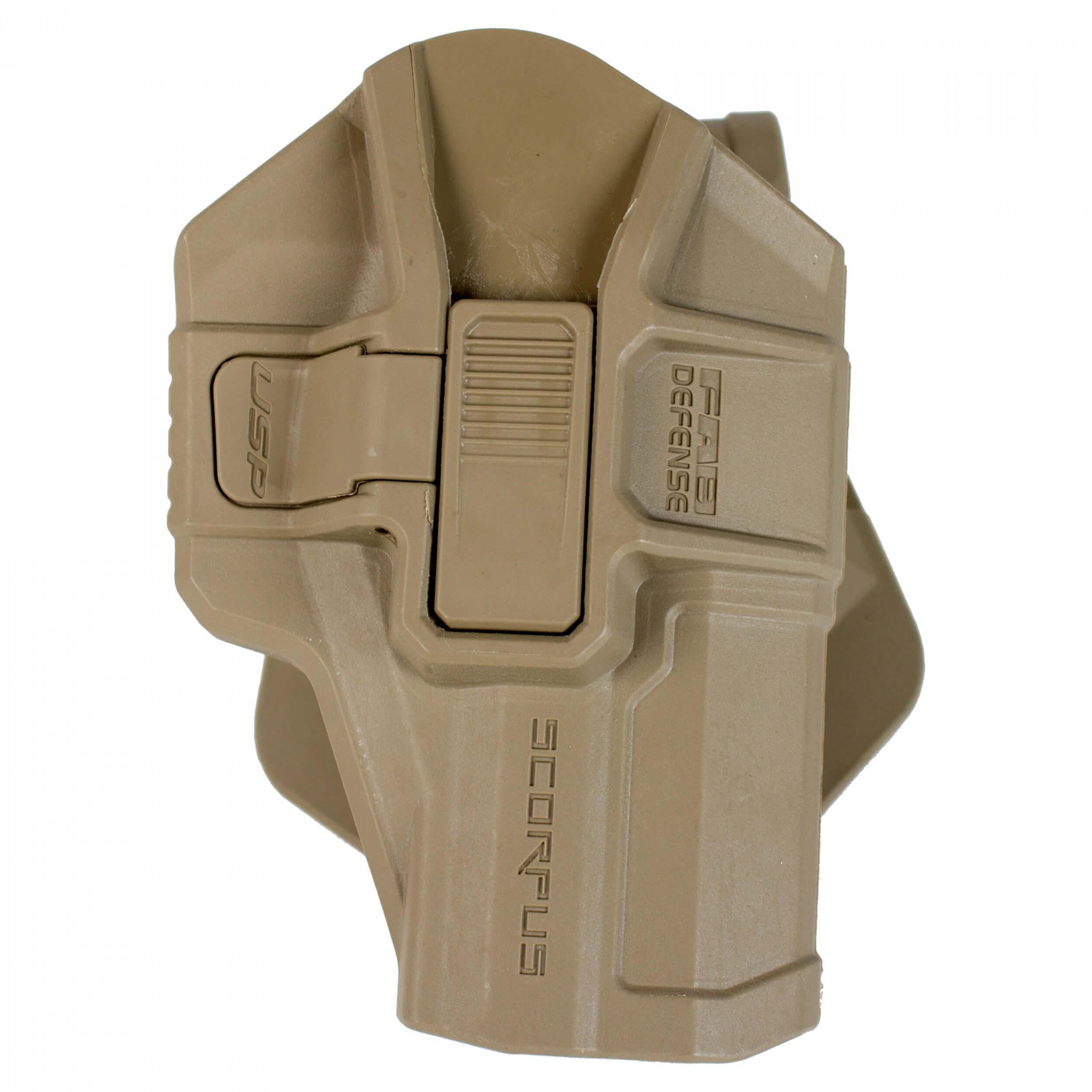 FAB Defense H&K P8 USP SR Level 2 Scorpus Swivel Retention Holster tan
