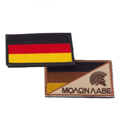 Molon Labe Sparta und Deutschland Flagge Stoff Patch 8x5cm 2 Stück im Set