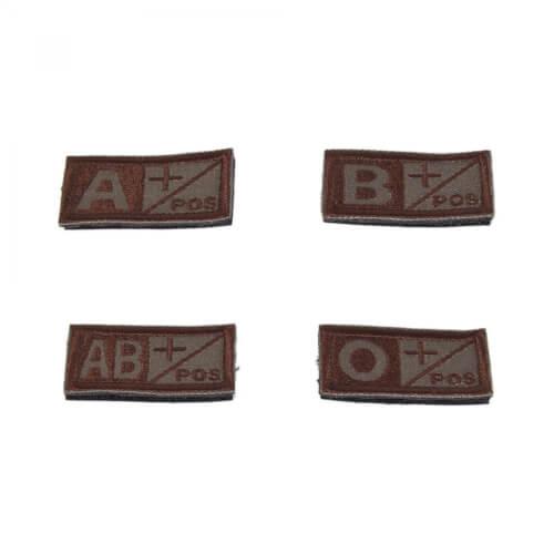 Gestickter Klett-Patch Blutgruppe A/B/AB/O+ Positiv 2 Stück im Set
