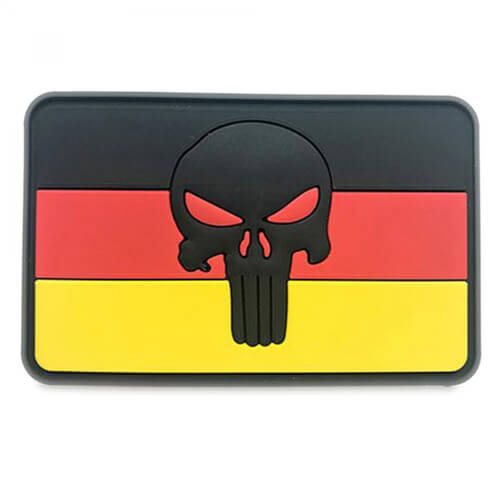 Punisher Totenkopf Patch 8 x 5 cm DE schwarz PVC