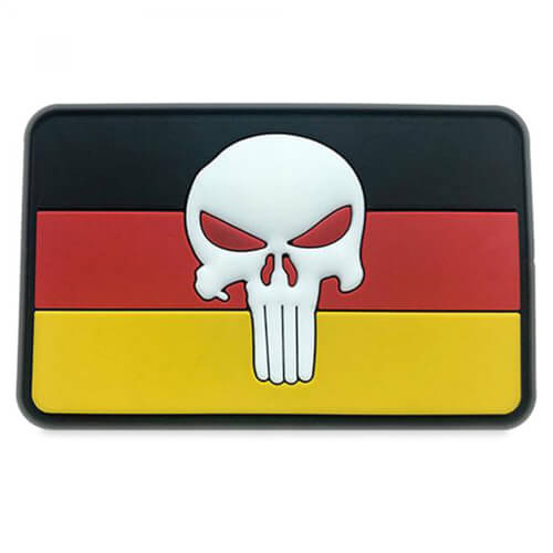 "Punisher Totenkopf mit Deutschlandflagge PVC Patch ""Glow in the Dark"""