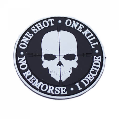 "One Shot One Kill Patch PVC weiß ""Glow in the Dark"""
