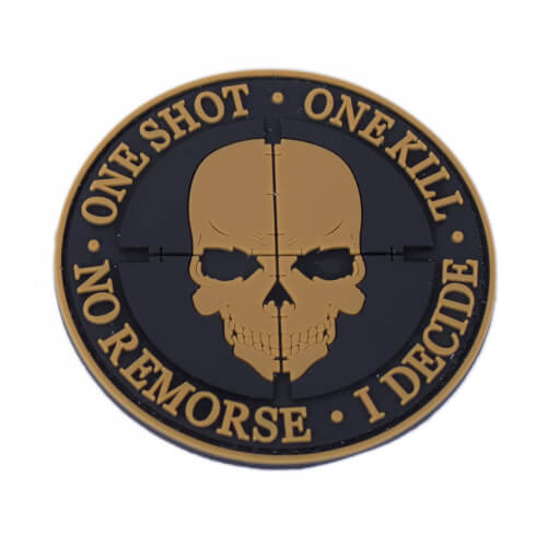 One Shot One Kill Patch PVC rund Braun