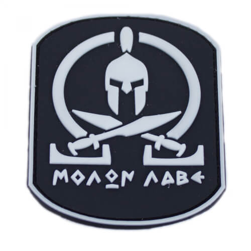 "Molon Labe Patch PVC in 6,3 x 7,9 cm weiß ""Glow in the Dark"""