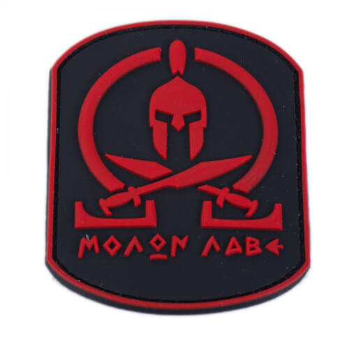 Molon Labe Patch PVC in 6,3 x 7,9 cm rot