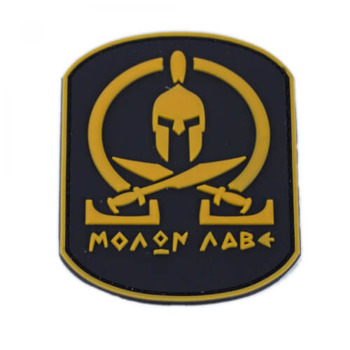 Molon Labe Patch PVC in 6,3 x 7,9 cm braun