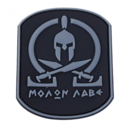 Molon Labe Patch PVC in 6,3 x 7,9 cm grau