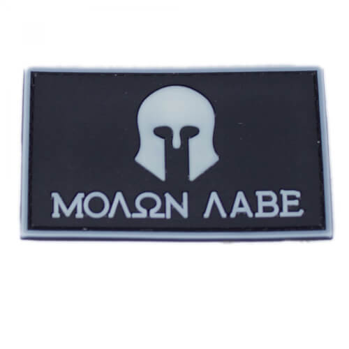 "Molon Labe Patch PVC in 8 x 5 cm weiß ""Glow in the Dark"""