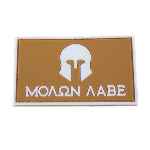 "Molon Labe Patch PVC in 8 x 5 cm braun ""Glow in the Dark"""