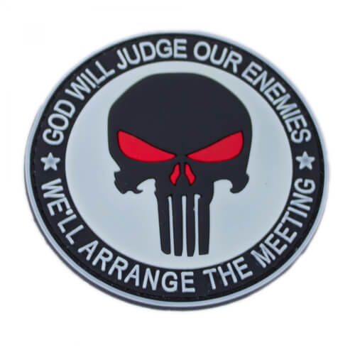 "Punisher Totenkopf Patch PVC weiß ""Glow in the Dark"""