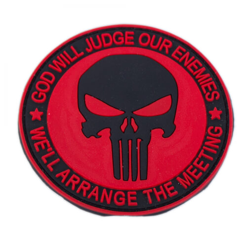 Punisher Totenkopf Patch PVC rot