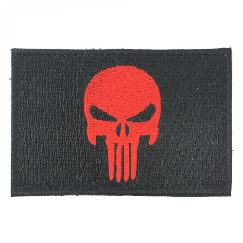 Punisher Totenkopf Patch rot/schwarz