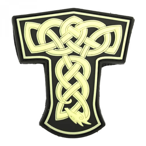 "JTG Dragon Thors Hammer PVC Patch ""Gow in the Dark"""