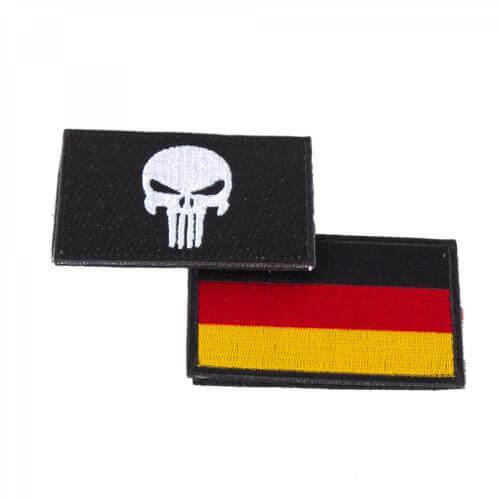 Punisher Totenkopf schwarz und Deutschlandflagge Patch 2er Set
