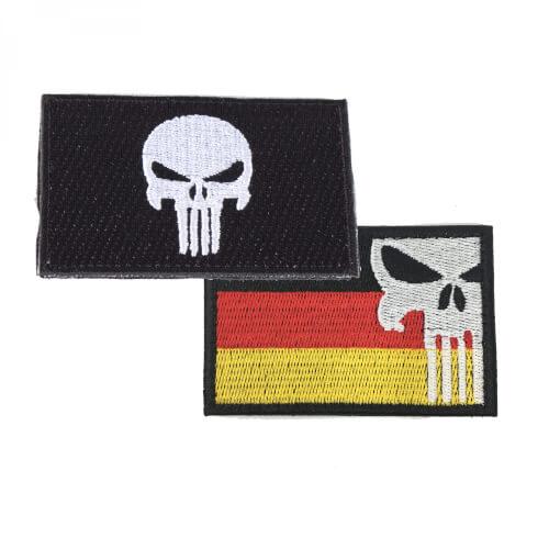 Punisher Totenkopf schwarz und Punisher mit Deutschlandflagge Patch 2er Set
