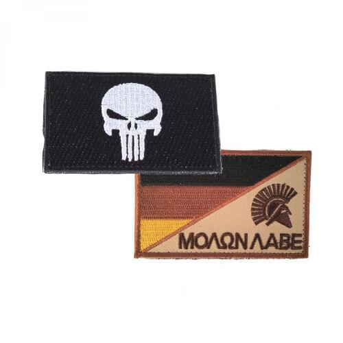 Punisher Totenkopf schwarz und Molon Labe Sparta Patch 2er Set
