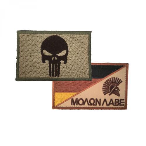 Punisher Totenkopf tan und Molon Labe Sparta Patch 2er Set