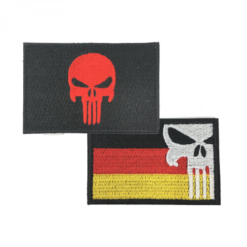Punisher Totenkopf red und Punisher mit Deutschlandflagge Patch 2er Set
