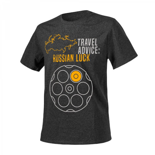 Helikon-Tex T-Shirt (Travel Advice: Russian Luck) - Melange Black-Grey