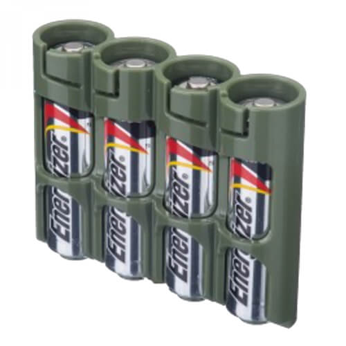 Storacell SlimLine Holds 4 AA Batteries 4-Pack military green