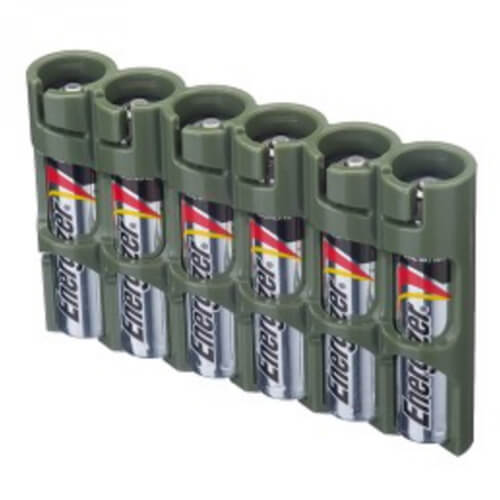 Storacell SlimLine Holds 6 AAA Batteries 6-Pack military green