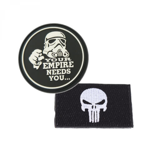 "Punisher mit Totenkopf schwarz und ""Your Empire Needs You"" Stormtrooper Patch 2er Set"