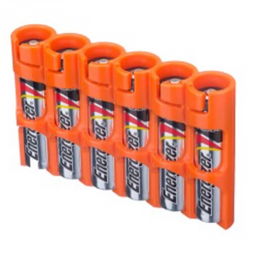 Storacell SlimLine Holds 6 AAA Batteries 6-Pack orange