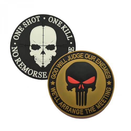"Punisher ""God Will Judge our Enemies"" und ""One Shot One Kill"" PVC Patch 2er Set"