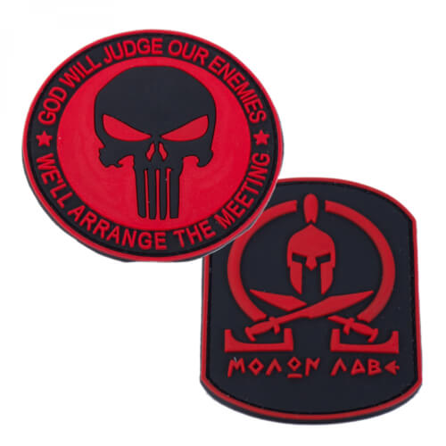 Punisher Totenkopf PVC red und Molon Labe PVC red Patch 2er Set