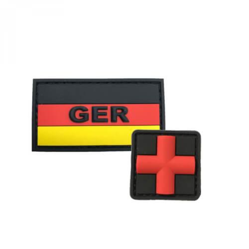 GER mit Deutschlandflagge und HCS Medic rotes Kreuz PVC Patch