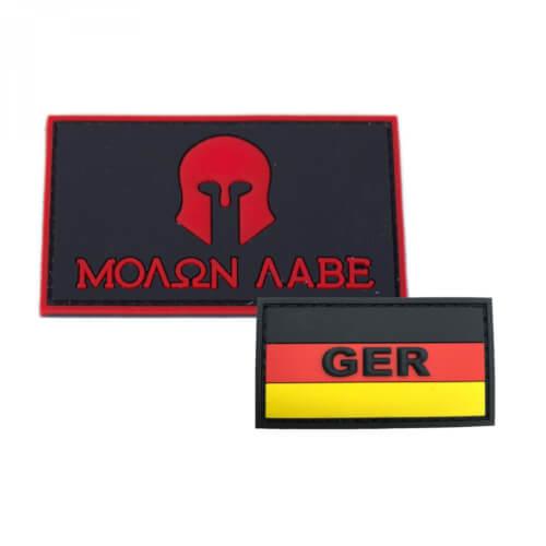 GER mit Deutschlandflagge und Molon Labe Patch PVC in 8 x 5 cm rot PVC Patch