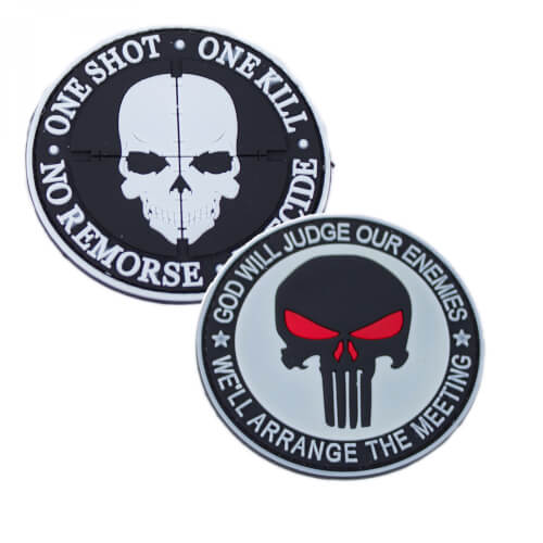 "Punisher ""God Will Judge our Enemies"" und ""One Shot One Kill"" PVC Patch 2er Set weiß 2er Set"