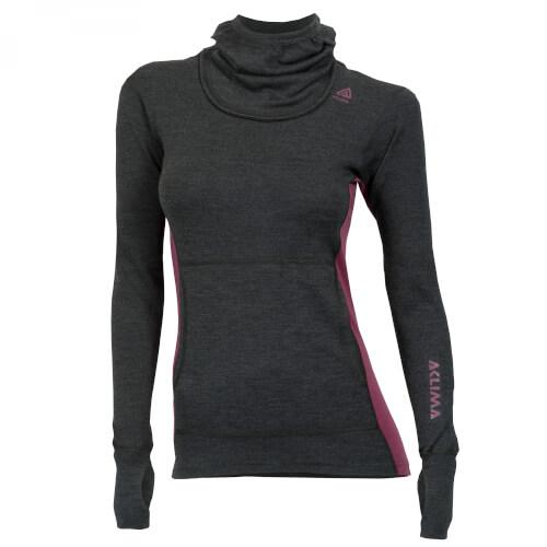 Aclima Warmwool Hood Sweater Woman Marengo/Damson