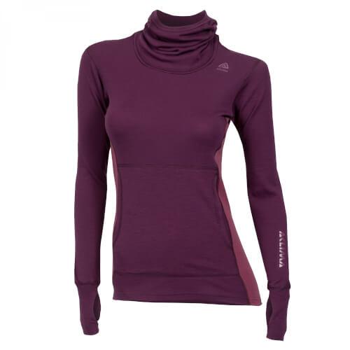 Aclima Warmwool Hood Sweater Woman Grape Wine/Damson