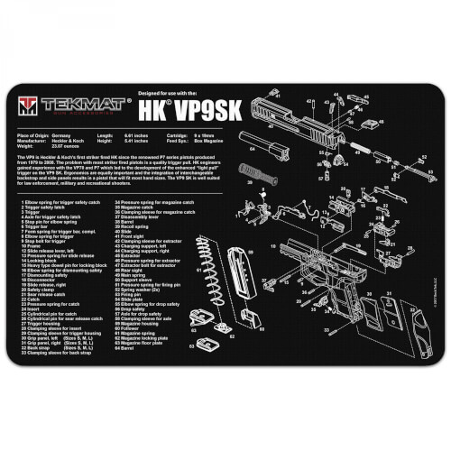 TEKMAT Heckler & Koch VP9SK Waffenreinigungsmatte 11x17 Zoll schwarz