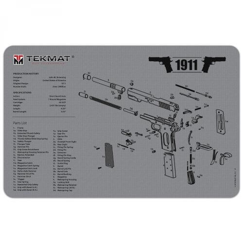 TEKMAT 1911 Waffenreinigungsmatte 11x17 Zoll grau