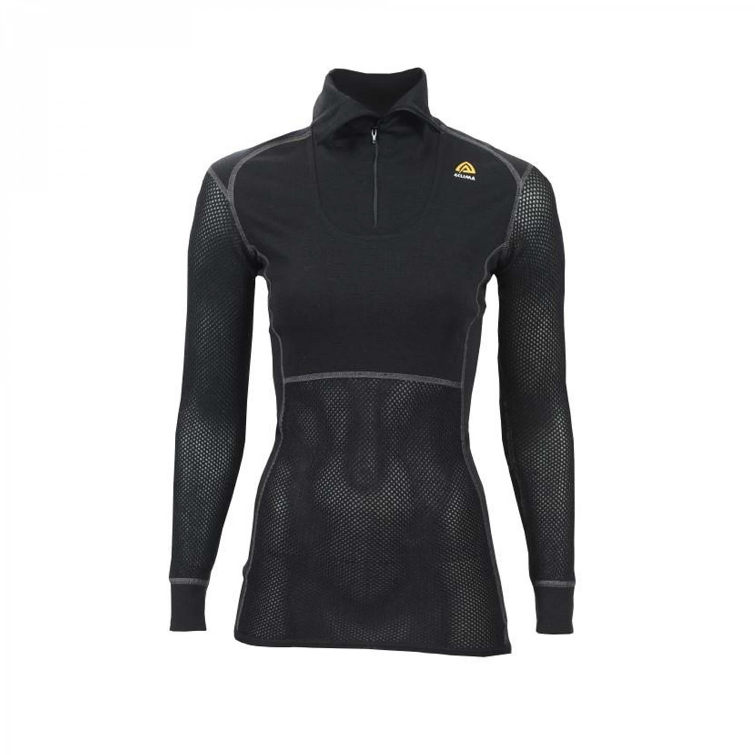 Aclima Woolnet Polo Zip Woman Jet Black