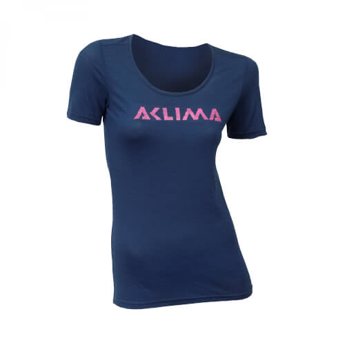 Aclima Lightwool T-Shirt R-neck LOGO Women Insignia Blue