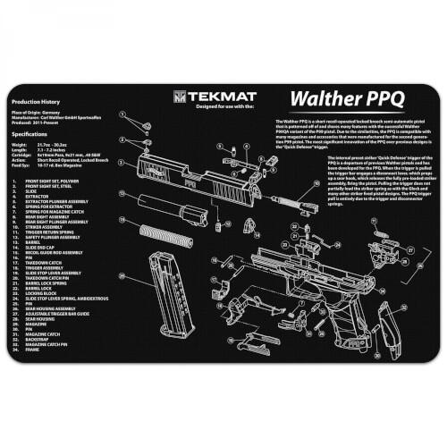 TEKMAT Walther PPQ Waffenreinigungsmatte 11x17 Zoll