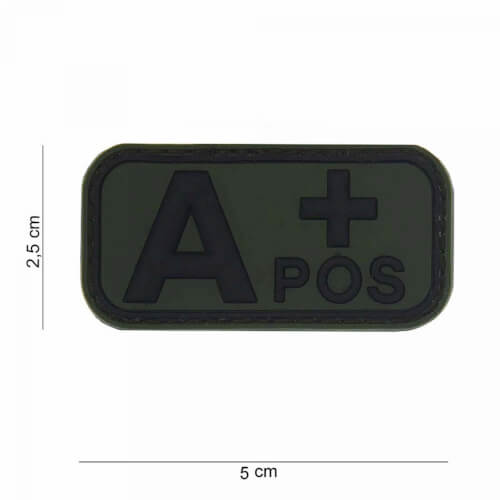 101 inc 3D PVC Patch blood type A+ positiv oliv