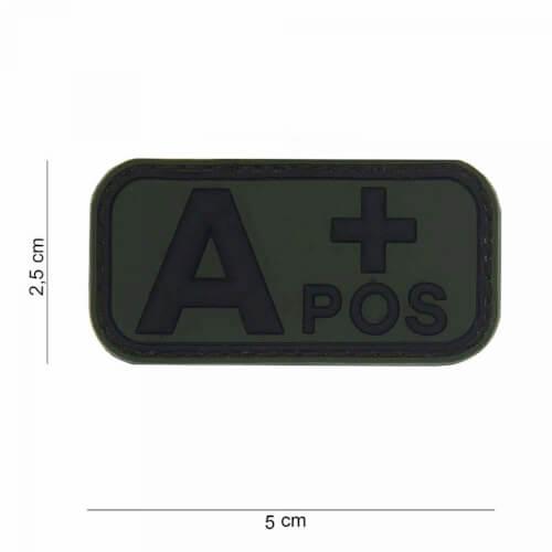 101 inc 3D PVC Patch blood type A+ positiv oliv