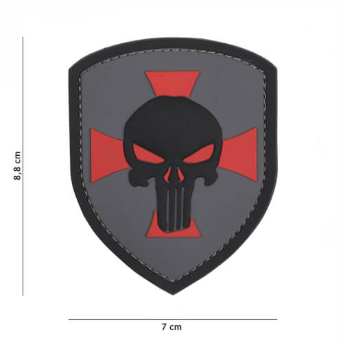 101 inc 3D PVC Patch Shield Punisher cross grey