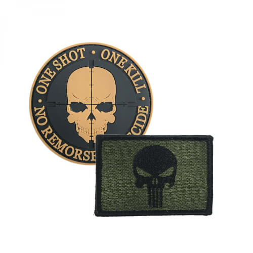 "Punisher Totenkopf Patch grün und ""One Shot One Kill"" Patch PVC braun 2er Set"