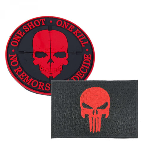 "Punisher Totenkopf Patch rot und ""One Shot One Kill"" Patch PVC rot 2er Set"