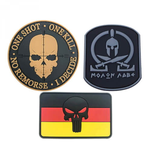 Punisher schwarz + Totenkopf tan + Molon Labe grau Patch PVC 3er Set