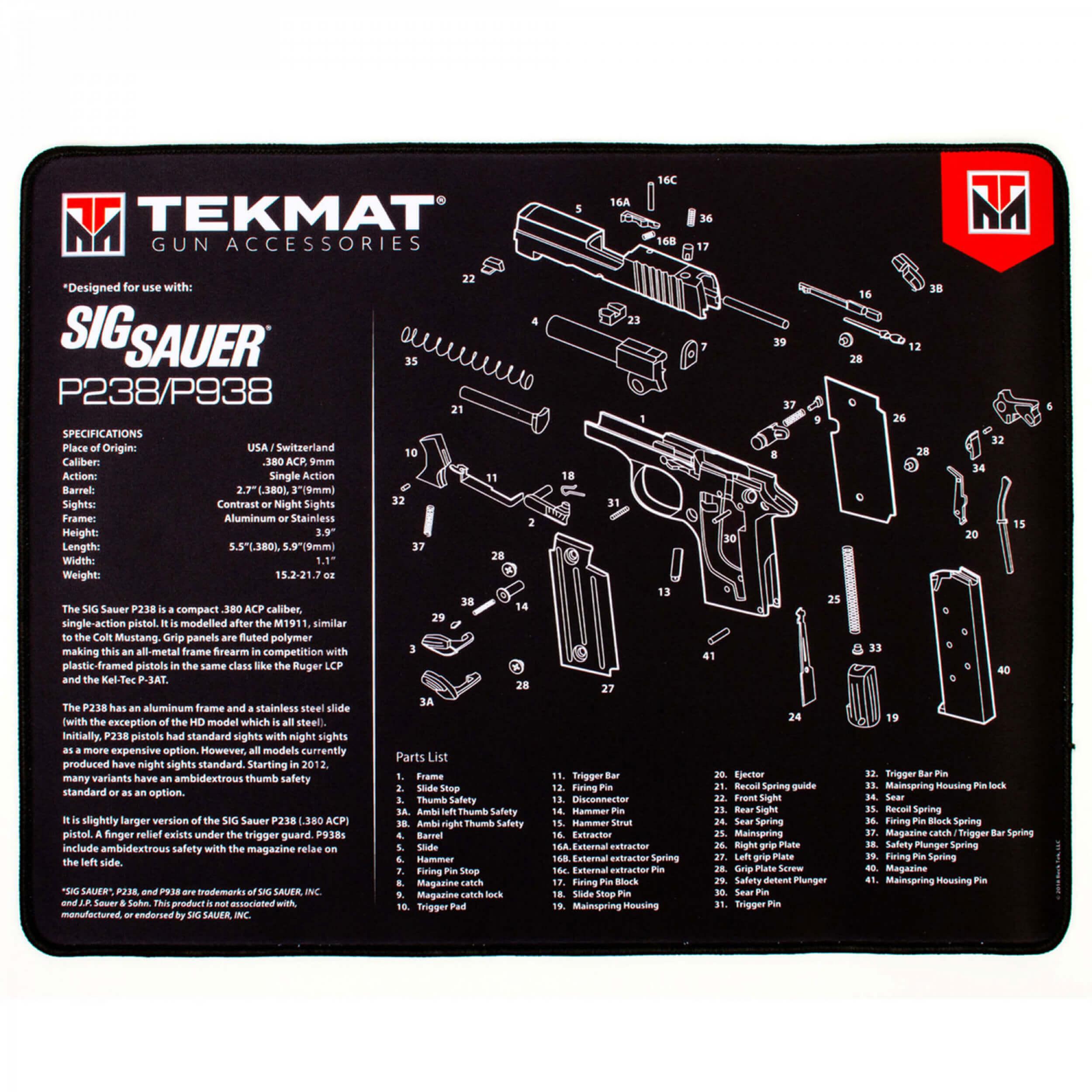 TEKMAT Sig Sauer P238/P938 Ultra Premium Waffenreinigungsmatte 15x25 Zoll B-WARE